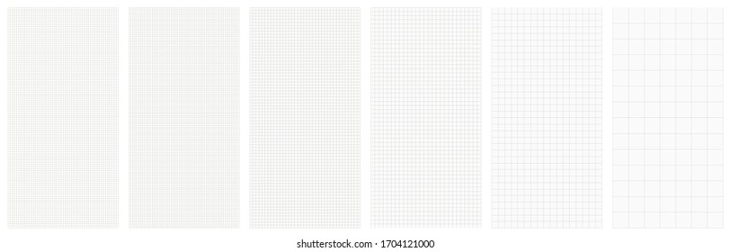 Vertical vector seamless set blueprint technical grid background projection. Editable illustration lines.
