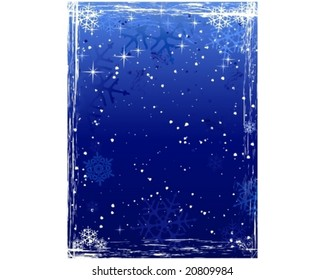 Vertical winter background with snowflakes and grunge elements in cold white and blues. Global colors.