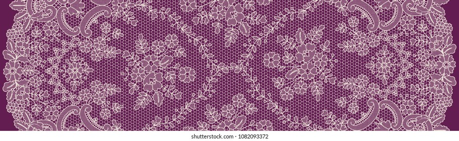 Vertically seamless beige lace background with floral pattern