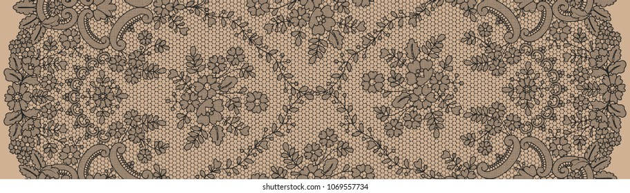 Vertically seamless black lace background with floral pattern