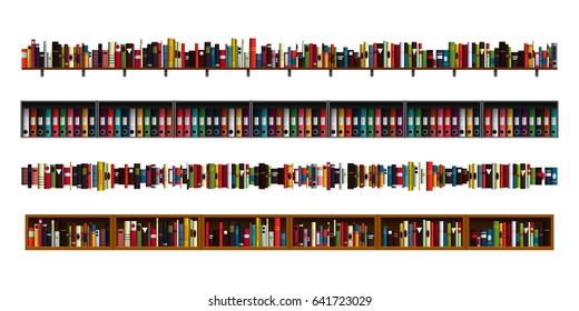 Vertically seamless book shelves border design elements set. Vector illustration bookshelves divider for advertisement, web, game. Paper book, reading, education, office archive, library borders.