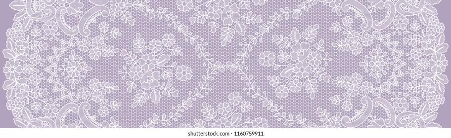 Vertically seamless lilac lace background with floral pattern
