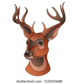 Vertor illustration of a deer, colorful neo traditional style. Head of wild deer with antlers.