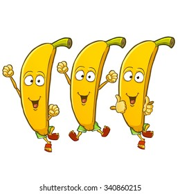 Very adorable banana cartoon character set with different emotions and poses isolated on white background