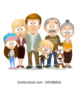 Very adorable big family portrait isolated on white background, Including grandparents and even dog
