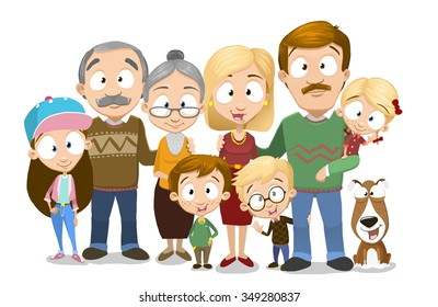 Very adorable big family portrait isolated on white background, Including grandparents and dog