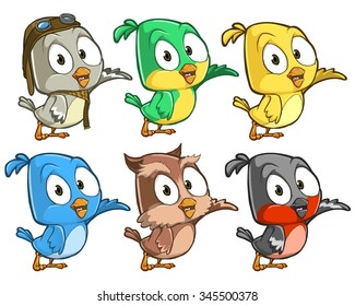 Very adorable birds character set with different poses and emotions isolated on white background