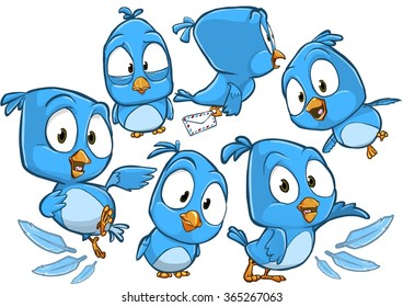 Very adorable blue cartoon bird character set with different poses and emotions isolated on white background