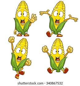 Very adorable corn character set with different poses and emotions isolated on white background