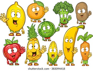 Very adorable fruits and vegetables. Big collection of fruits. Fruits characters gesturing and waving their hands. Smiling fruits isolated on the white background. Different fruits mixed together