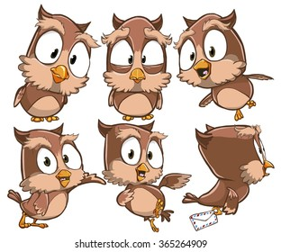 Very adorable set of cartoon owl bird character with different poses and emotions isolated on white background