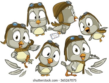 Very adorable set of cartoon pilot bird character in uniform with different poses and emotions isolated on white background