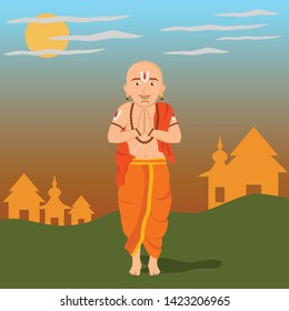 Very attractive and lively design of a south Indian panditji priest with some temples and the morning scene with the rising sun in the background.