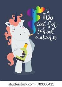Very bad unicorn. Too cool for school. Hand drawn vector illustration. Dark background