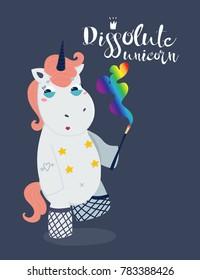 Very bad unicorn. Dissolute unicorn. Hand drawn vector illustration. Dark background