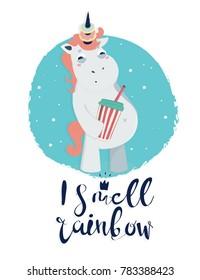 Very bad unicorn. Fat unicorn. Hand drawn vector illustration