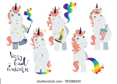 Very bad unicorn. Hand drawn vector set. All objects are isolated