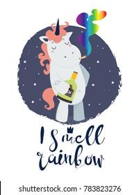 "Very bad unicorn. ""I smell rainbow"". Hand drawn vector illustration"