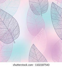 A very beautiful silhouette of the sheet is painted on a delicate pink and purple background. Seamless pattern.