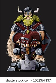 Very big strong ancient north viking power  pagan with blond beard dangerous cold weapons hammer he dress metal armor and big shield. Cartoon game design character vector modern style illustration.