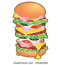 Very big, tasty sandwich with ham, melting cheese, cutlet, fresh salad etc.