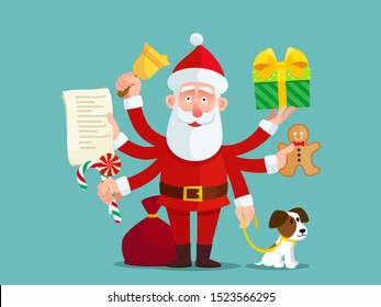 Very busy Santa Сlaus. Super Santa with many hands and gifts, christmas rush. Christmas card, banner, postcard. Vector illustration, flat design, cartoon style. Isolated background.