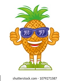 Very cool happy icon fresh pineapple in shoes and sunglasses which stand and show two thumbs in up. Sticker patch style game design cartoon character. Modern vector style illustration flat draw.