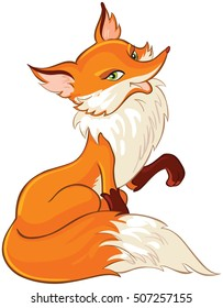 Very cute fox isolated on white. Also available coloring book version