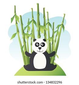 Very cute panda with bamboo