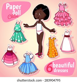Very cute paper doll with six beautiful dresses. African American girl on a pink background