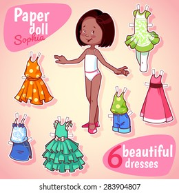 Very cute paper doll with six beautiful dresses. Brunet girl on a pink background.