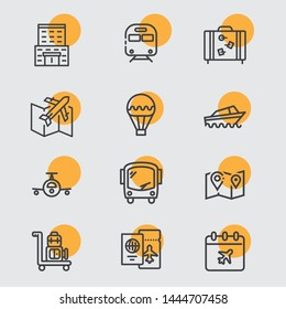 Very cute summer travel vehicle line icons