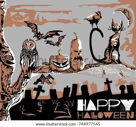 very dangerous vector halloween poster owl stock vector royalty