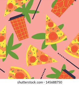 Very delicious pattern with pizza and coke. Vector seamless