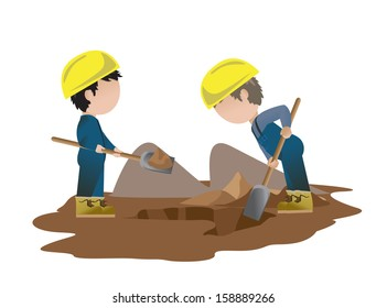 Very Detailed Drawn Builder Workers Set - Isolated On White Background - Vector Illustration, Graphic Design