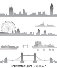 Very Detailed London skyline with Big Ben, Westminster, London Eye, Tower Bridge, Tower of London, city,  St. Paul Cathedral, Thames Barrier, and O2