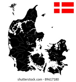 Very detailed  map of Denmark with islands, rivers and lakes. Isolated objects over white background.