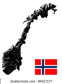 Very detailed  map of Norway with islands, rivers and lakes. Isolated objects over white background.