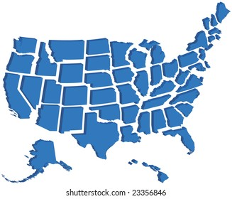 Very detailed vector map of all fifty United States in 3d. Each state is grouped individually and labeled in the layers palette.
