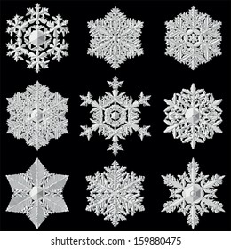 Very detailed vector snowflakes.