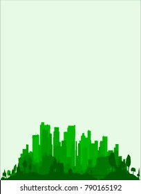 The very edge of a city, trees and buildings in emerald green as a background