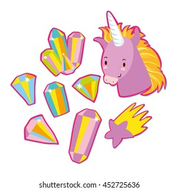 very fashionable stickers. in the style of 80's.crystals, Unicorn, magic, star. quirky cartoon  badges