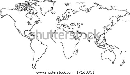 Map Of The World No Borders.Very Fine Outline World No Country Stock Vector Royalty Free