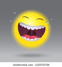 Very funny smile. Fluffy Emoticon. Laughter to tears