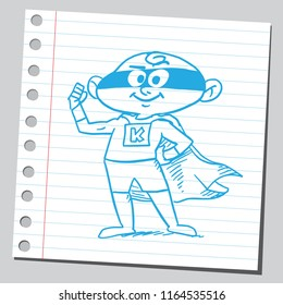 Very funny super kid.Hand drawn sketch style illustration.