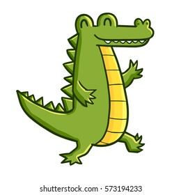 Very funny walking crocodile with two feet - vector.