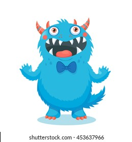 Very Happy Colorful Monster Funny character. Cute Monster Vector. Cartoon Monster Mascot. Vector Illustration Funny Fantastic Animals.