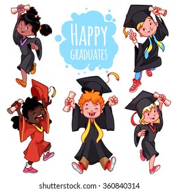 Very happy kids. Graduates in gowns and with a diploma in hand. Set of vector cartoon characters on white background.