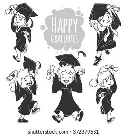 Very happy kids. Graduates in gowns and with a diploma in hand. Set of vector cartoon characters in black and white style isolated on white background.