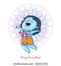 Very happy little Krishna. Greeting card for Krishna birthday - Janmashtami. Vector illustration isolated on a white background.